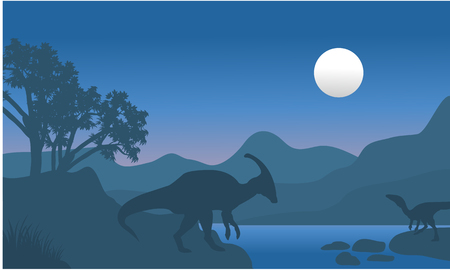 behemoth: eoraptor and parasaurolophus in river scenery silhouette at tthe night Illustration