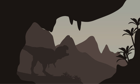 tyrannosaur: Silhouette of T-Rex in highlands with brown backgrounds