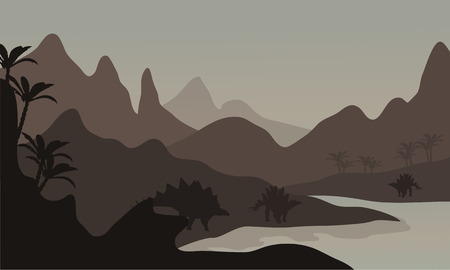 gigantic: Silhouette of stegosaurus in riverbank with brown backgrounds