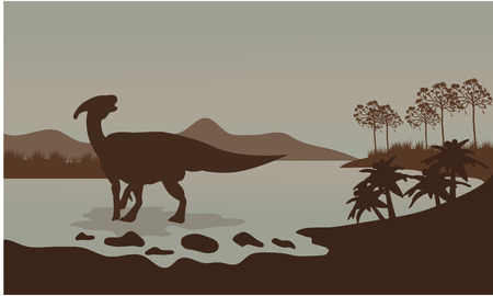 behemoth: parasaurolophus in river scenery a very beautiful Illustration