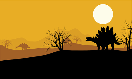 At sunset stegosaurus in fields scenery a beautiful 일러스트
