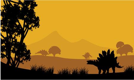 stegosaurus: Landscape of stegosaurus silhouette at the afternoon