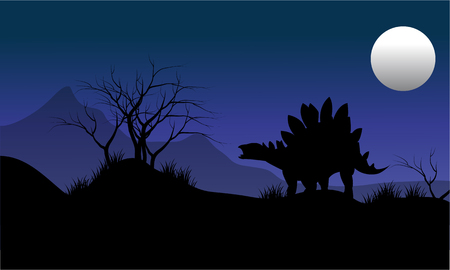 gigantic: Silhouette of stegosaurus with moon scenery at the night