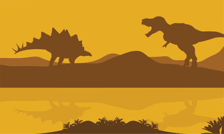 riverbank: Silhouette of stegosaurus and parasaurolophus in riverbank