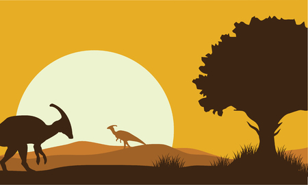 gigantic: Silhouette of parasaurolophus with sun a very beautiful
