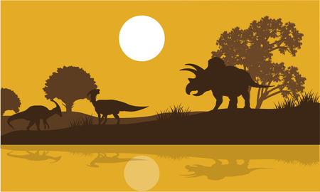 behemoth: Silhouette of triceratops and parasaurolophus in river at the morning