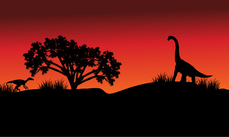 long night: At morning silhouette eoraptor and brachiosaurus with red backgrounds