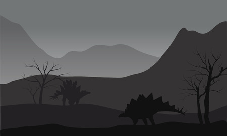 enormous: Gray silhouette of two stegosaurus in the hills