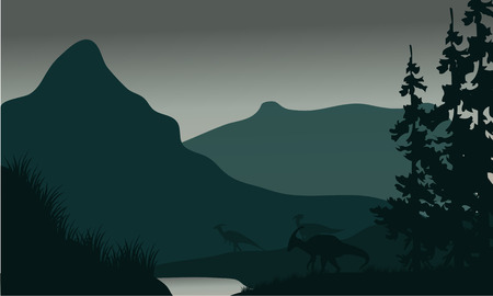 behemoth: Silhouette of parasaurolophus in river with green backgrounds