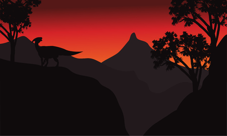 titan: At sunset silhouette parasaurolophus in cliff scenery Illustration