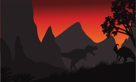 tyrannosaurus: tyrannosaurus and parasaurolophus silhouette in hills at the sunsrise