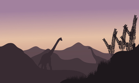 black giant mountain: Silhouette of two brachiosaurus in fields at the morning
