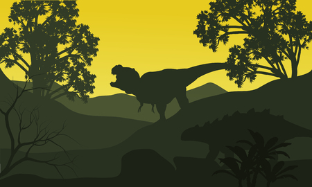 tyrannosaur: On the hills silhouette ankylosaurus and tyrannosaurus at the morning