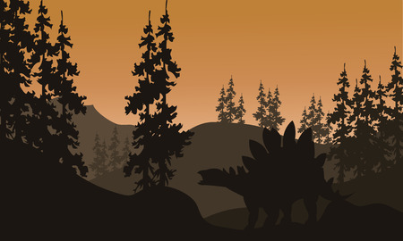 enormous: Silhouette of stegosaurus and spruce with brown backgrounds Illustration