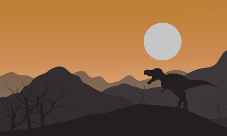 tyrannosaur: Silhouette of one tyrannosaurus in hills with sun at afternoon