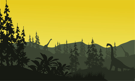 black giant mountain: Silhouette of brachiosaurus and spruce with yellow sky Illustration