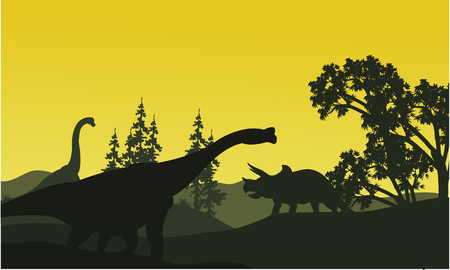 black giant mountain: At moorning triceratops and brachiosaurus silhouette in fields scenery