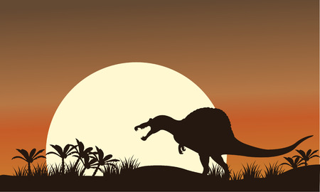 Silhouette of spinosaurus and big sun at the morning 矢量图像