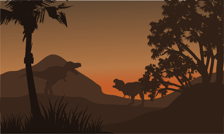 tyrannosaur: At afternoon tyrannosaurus in hills of silhouette beautiful scenery