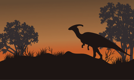 behemoth: Silhouette of one parasaurolophus in hills beautiful scenery Illustration