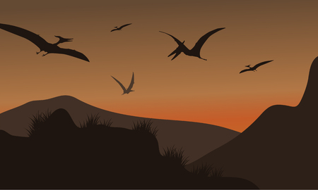 pterodactyl: Silhouette of pterodactyl flying at afternoon with brown backgrounds