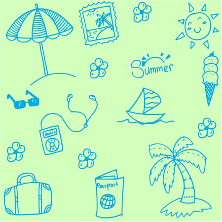 siervo: colección de verano de Doodle con fondos verdes