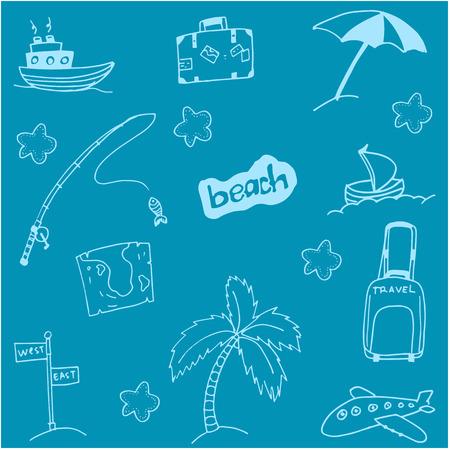 siervo: Doodle de vacaciones en la playa con los fondos azules