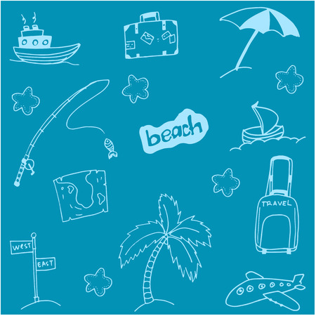 serf: Doodle of beach holiday with blue backgrounds