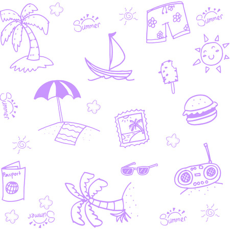 family holiday: Hand Draw beach doodle for family holiday Illustration