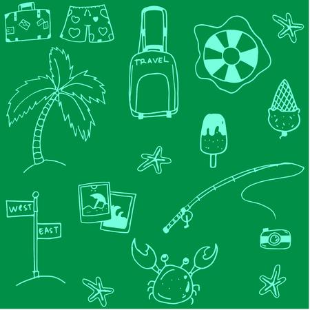 siervo: Doodle de la playa del verano con fondos verdes