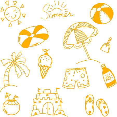 siervo: Drenaje de la mano del arte bosquejo de verano para los ni�os Vectores