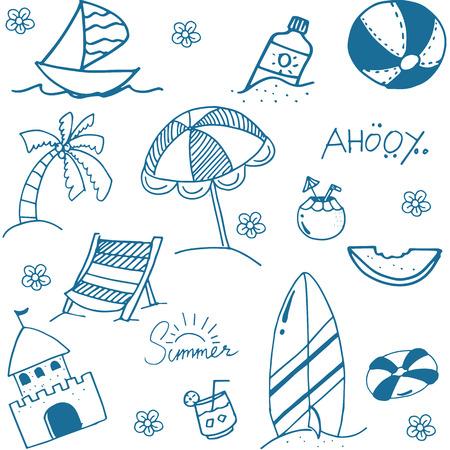 siervo: Azul del verano la imagen del doodle drenaje de la mano de un divertido