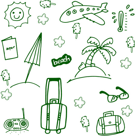 siervo: Viajar elemento Doodle conjunto imagen drenaje de la mano
