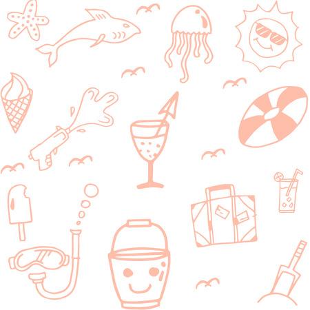 siervo: Fije el icono del doodle de la playa del verano para los ni�os de vacaciones Vectores