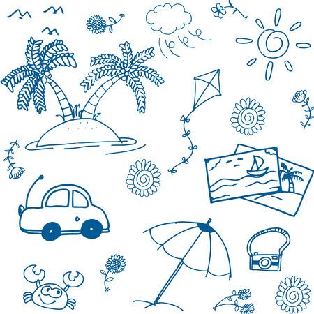 siervo: feliz imagen del doodle de vacaciones de verano de drenaje de la mano Vectores