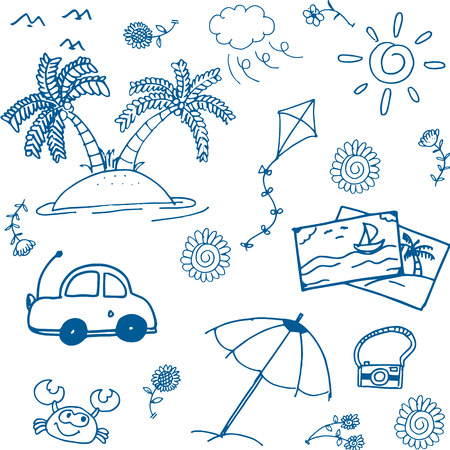 serf: Happy holiday summer doodle image of hand draw Illustration