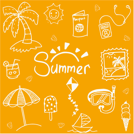 Orange background summer doodle