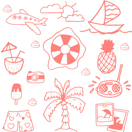 siervo: Conjunto del doodle de los viajes elemento muy divertido para los niños Vectores