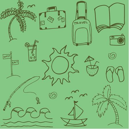 siervo: doodle de viajes imagen Fondos verdes del drenaje de la mano con