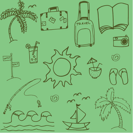 serf: Travel doodle with green backgrounds image of hand draw