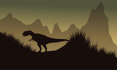 eater: Silhouette of allosaurus in park at the afternoon Illustration