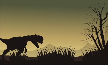 Silhouette of one dilophosaurus in hills at the morning