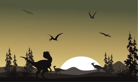 biped: Silhouette of dilophosaurus in park at the sunrise Illustration