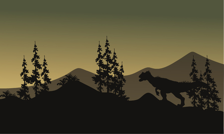 behemoth: Silhouette of one allosaurus in hills at the morning