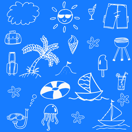 picnic blanket: Blue backgrounds beach doodle stock vector art
