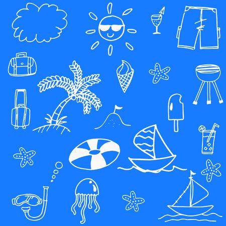 blanket fish: Blue backgrounds beach doodle stock vector art