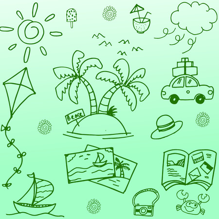 summer holidays: Happy travel doodle vector