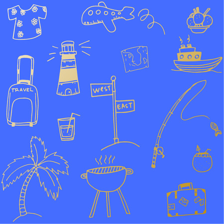 picnic blanket: Holiday element doodle vector with blue backgrounds Illustration