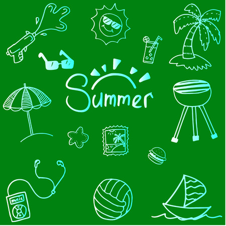 picnic blanket: Summer doodle vector art with green backgrounds Illustration