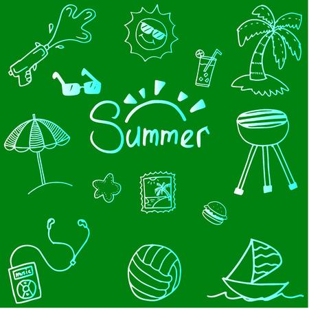 blanket fish: Summer doodle vector art with green backgrounds Illustration